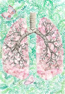 Imagen de que ilustra unos pulmones dibujos con plantas y mariposas