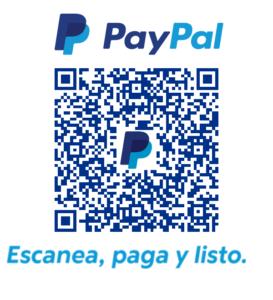 Código QR de paypal para hacer donaciones a la asociación